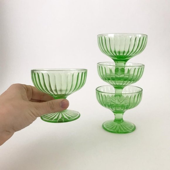 4 Green Vaseline Glass Round Coupe Glasses